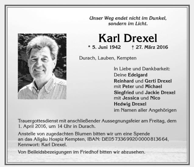 KarlDrexel_Durach_Todesanzeige